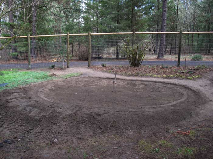 Edge for liner is begun around pond